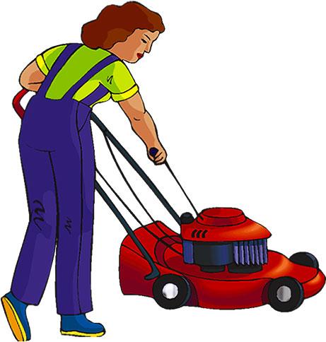 Woman clipart mowing lawn Lawn Animations Free woman Women