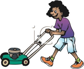 Woman clipart mowing lawn Girl the Mowing African lawn