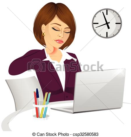 Woman clipart office worker Suffering pain office female Vector
