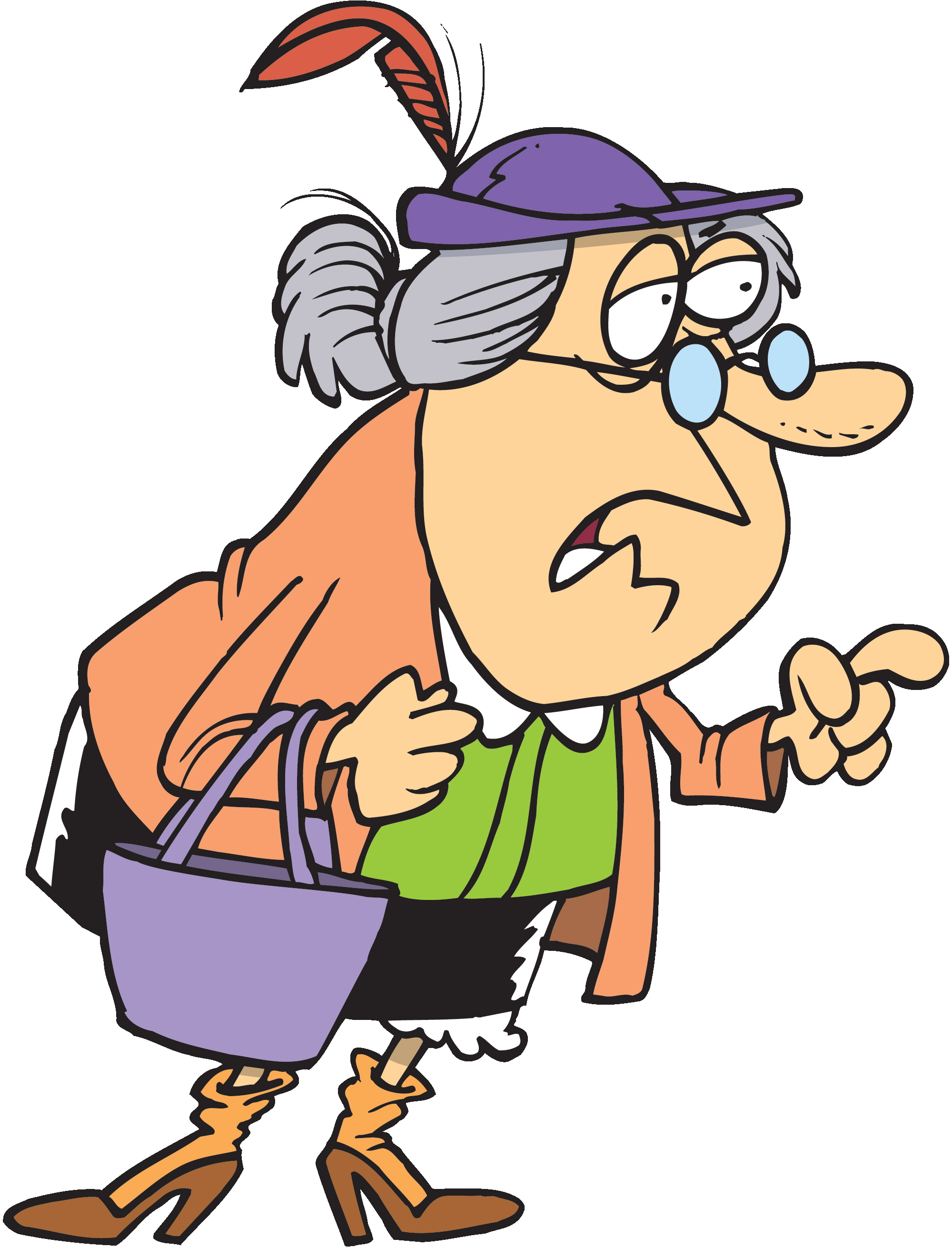 Woman clipart old age Walking bags  A dragging
