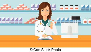 Woman clipart pharmacist Of Pharmacist notes Woman Vectors