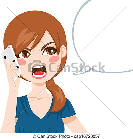 Women clipart phone call Angry of Call upset csp16728857