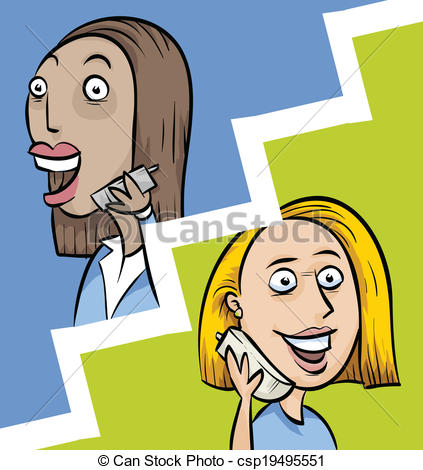 Women clipart phone call Of Vector Call Two Screen