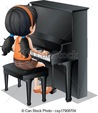 Woman clipart pianist Clipart A csp17908704 young with