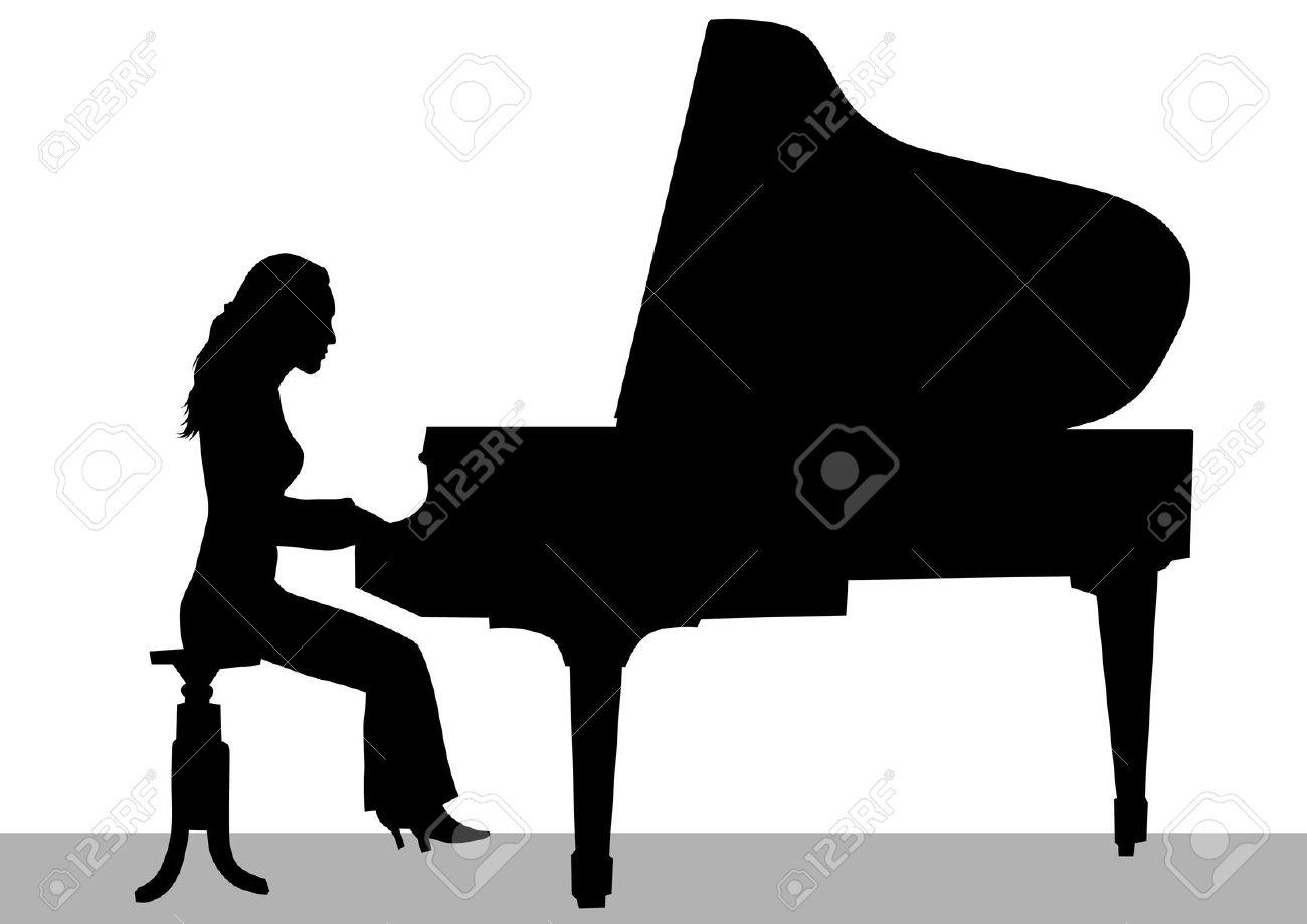 Piano clipart shadow Girl Clip Girl Download Piano