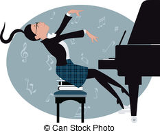 Woman clipart pianist Of playing  Clip