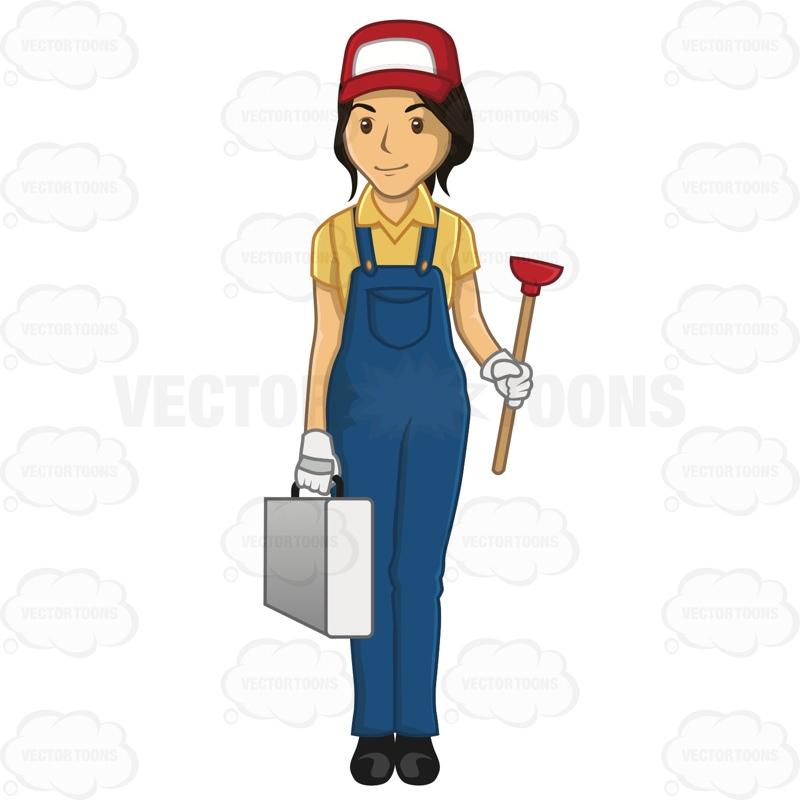 Woman clipart plumber Cartoon  Plumber Female Plunger