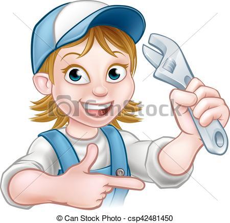Woman clipart plumber Of Mechanic Cartoon Vector csp42481450
