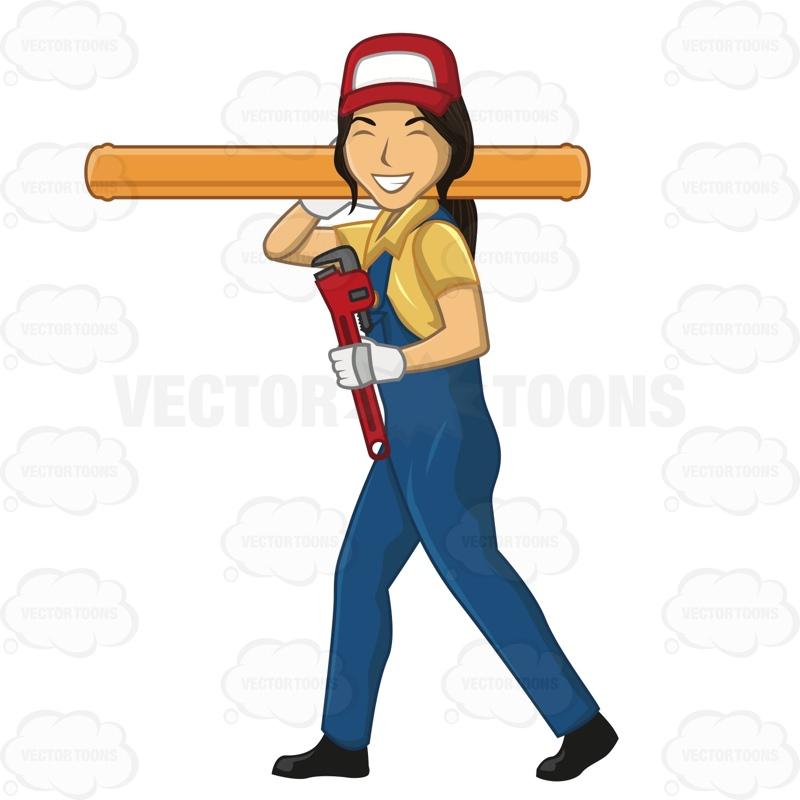 Woman clipart plumber Pipe Cartoon Plumber Female Large