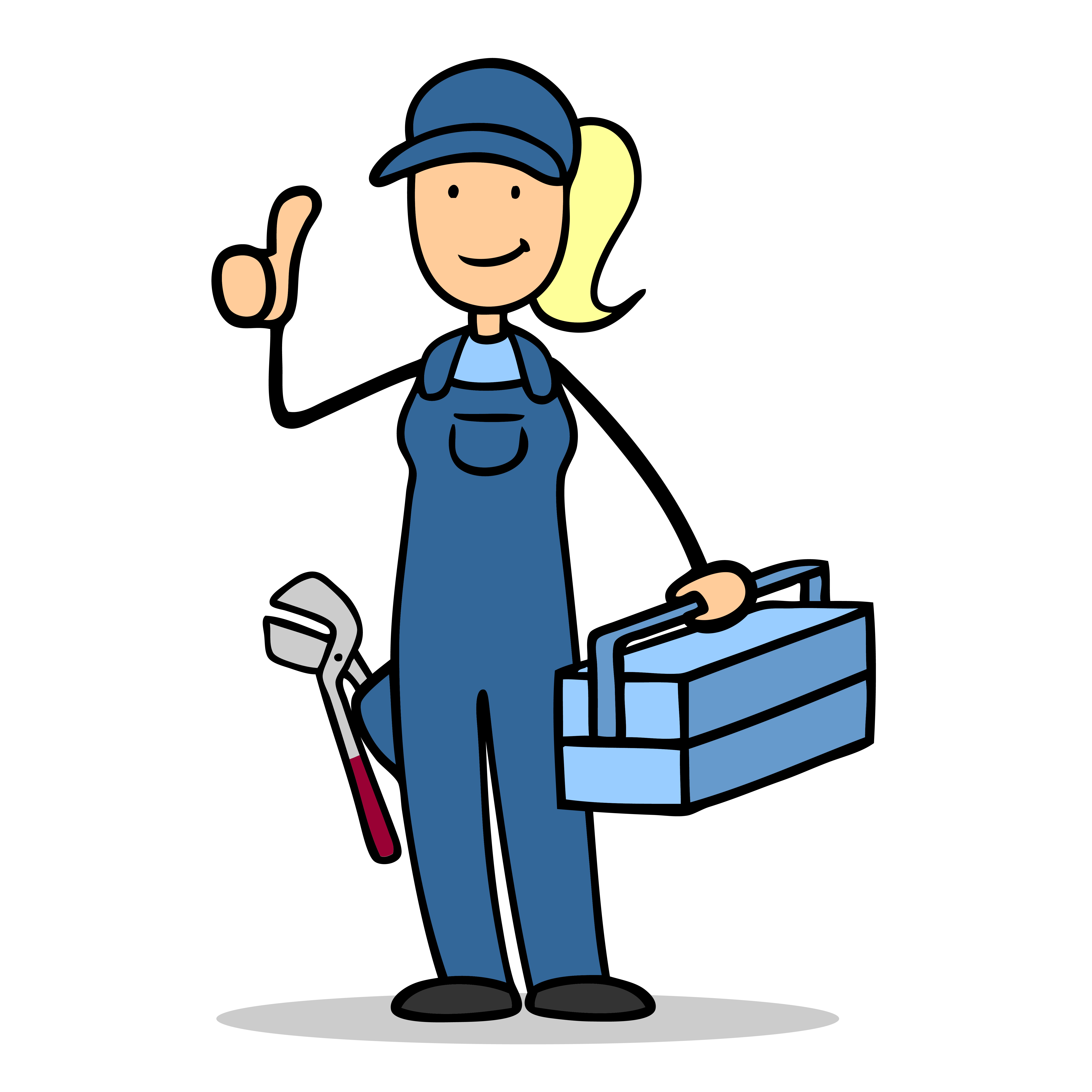 Woman clipart plumber Gas woman Cartoon The thumbs