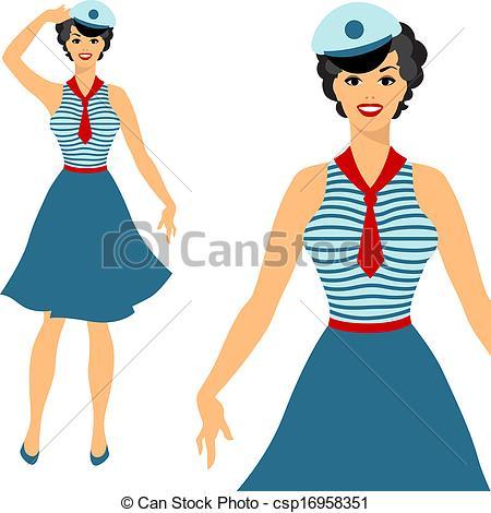 Women clipart sailor Beautiful sailor up pin 1950s