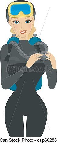 Woman clipart scuba diver Csp6628838 Diver Diving Vector a