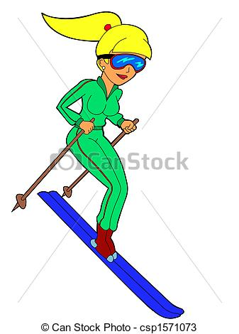 Ski clipart person skiing Vector woman Illustration  beautiful