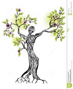 Woman clipart tree Tree silhouette life Stock Images