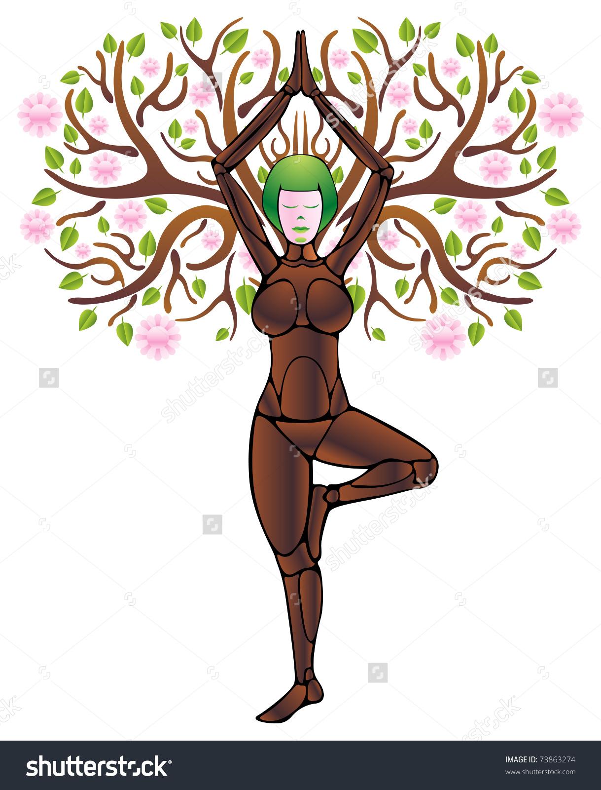 Woman clipart tree Stock  Vector Yoga Illustration