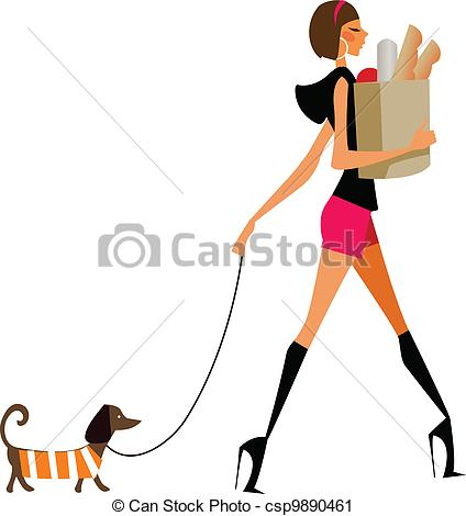 Woman clipart walking dog Dog walking woman dog of