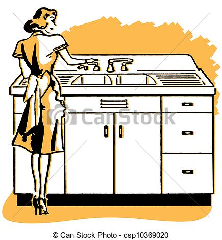 Woman clipart washing dish A of 054 2 illustration