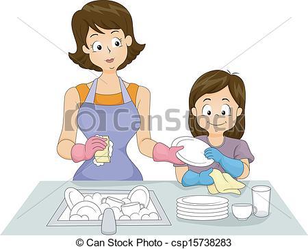 Woman clipart washing dish Csp15738283 Dishes of Illustration Washing