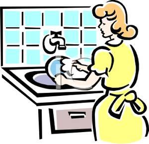 Woman clipart washing dish Royalty Dishes Free Royalty Washing