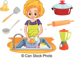 Woman clipart washing dish The in csp20877222 dishes dishes