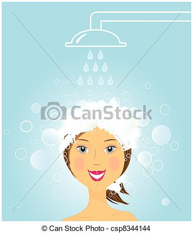 Women clipart washing hair Hair girl washing under beauty
