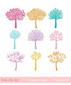 Wood clipart colorful tree Silhouette clipart tree clipart Color