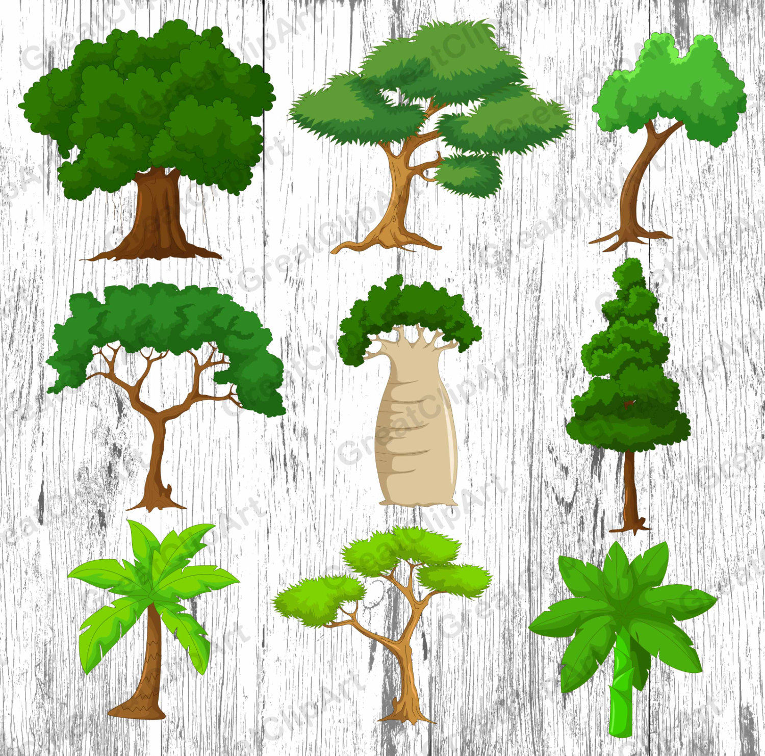 Wood clipart colorful tree 9 clipart is digital file