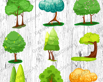 Wood clipart colorful tree Clipart trees Trees painted set
