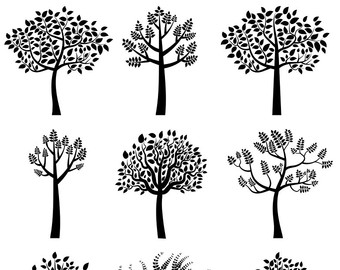Wood clipart colorful tree Clip tree Silhouette Black tree