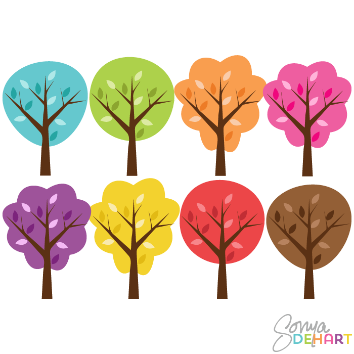 Wood clipart colorful tree Trees Vector Art Colorful Clip