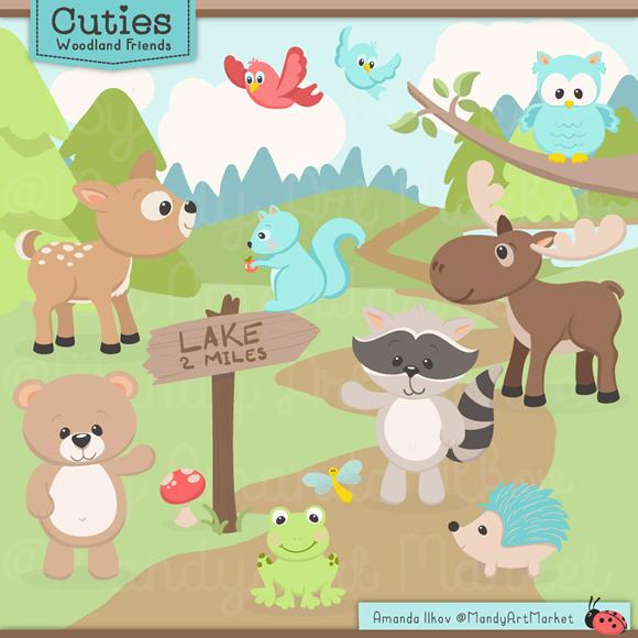 Wood clipart cute Clipart Digital Premium Moose images
