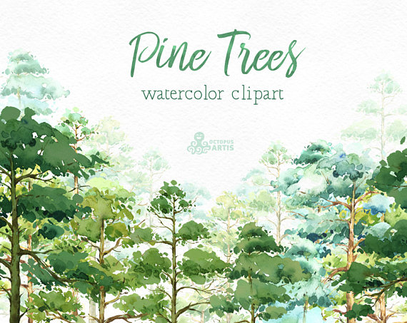 Wood clipart forrest Watercolor card quote Pine Studio