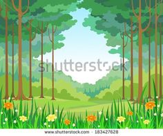 Wood clipart garden background Landscape  tale wood illustration