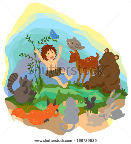 Wood clipart jungle scene Is boy with playing animals