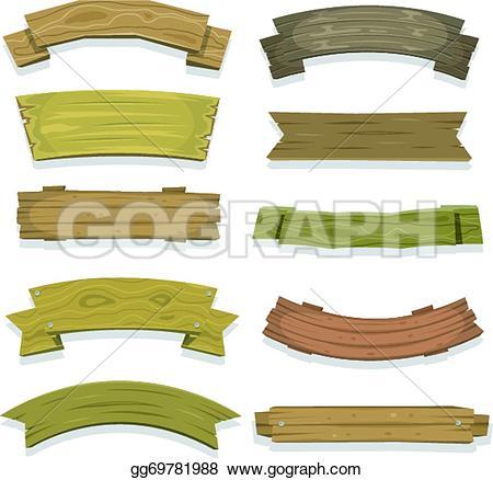 Wood clipart ribbon Seal banners Vector ribbon Illustration