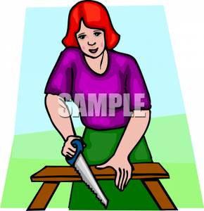 Wood clipart saw cutting Clipart A Saw Wood Woman