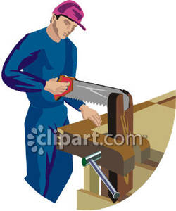 Wood clipart saw cutting Man Wood Royalty Clipart With