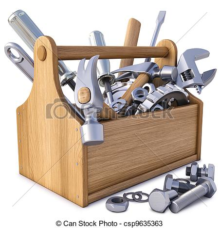 Brown clipart toolbox Toolbox with wooden 9 on