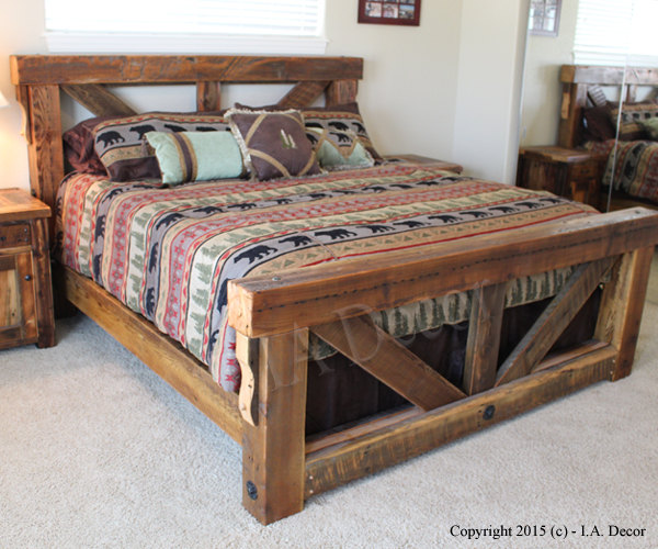 Wood clipart wooden bed Bed bed Reclaimed Frame Bed