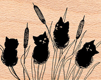 Wood Duck clipart cattails Mounted Cattails STAMP~Black Crafting~Fall Autumn~Wood