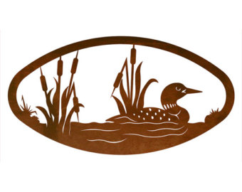 Wood Duck clipart cattails Wall Art Swimming Etsy Steel