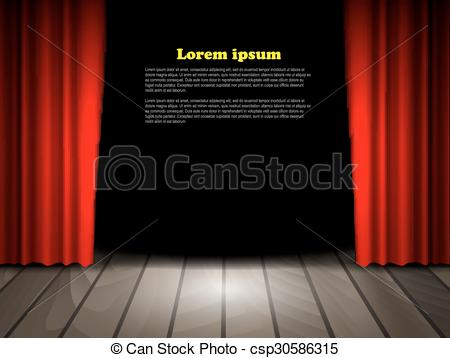 Wooden Floor clipart stage floor Theater with csp30586315 red