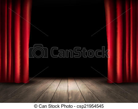 Wooden Floor clipart stage floor Theater  with Vector red