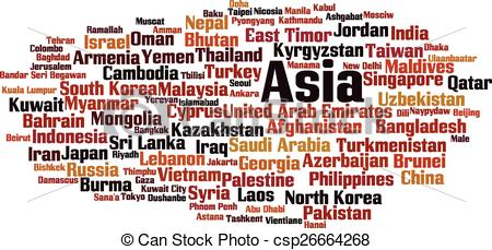 Word clipart asia Countries in Art Vector Clip