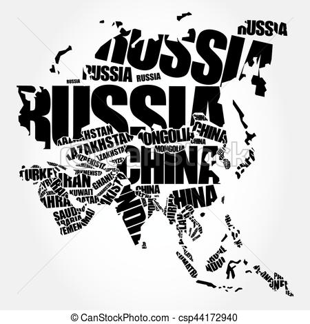 Word clipart asia Asia Map EPS concept csp44172940