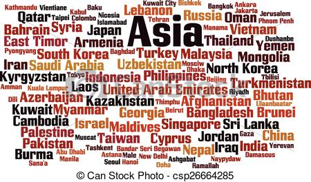 Word clipart asia Asia in of Vector word