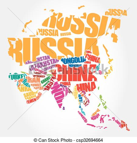 Word clipart asia Clip Map names in concept