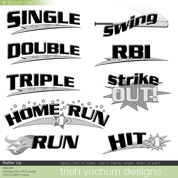 Word clipart baseball 24 Photoshop Stamps Word STITCH