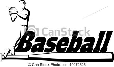 Word clipart baseball And Baseball with Bat Vector