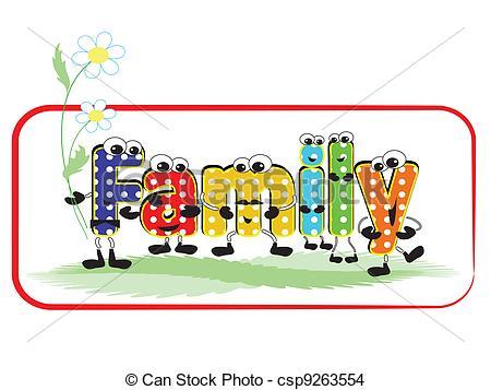 Word clipart cartoon Cartoon csp9263554 Word colorful family